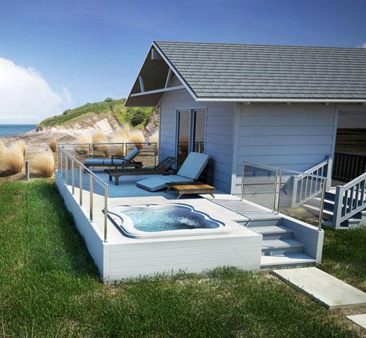 Jacuzzi Lodge M poglobljen na terasi s pogledom