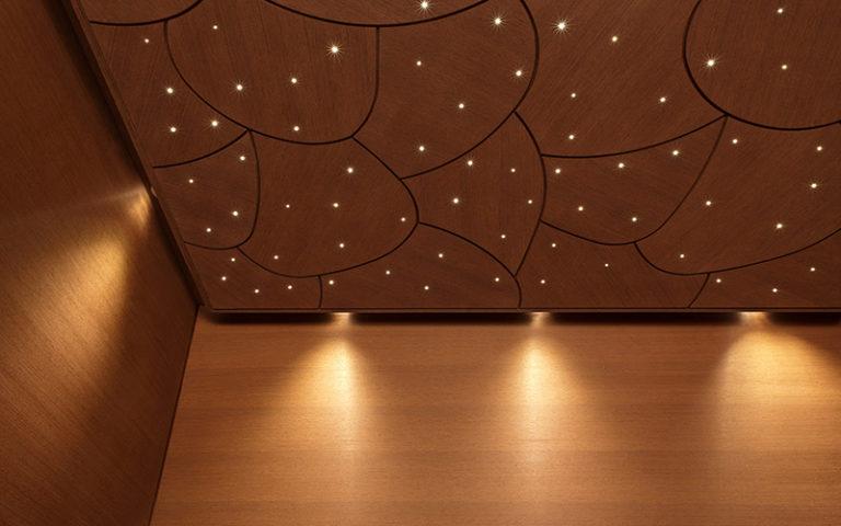 Finska savna Klafs CASENA_detajl notranjosti-strop zvezdnato nebo